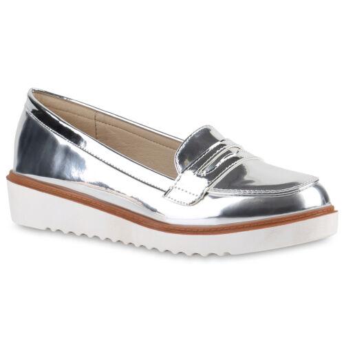 Damen Slipper Loafers Lack Metallic Flats Profilsohle 814435 Schuhe