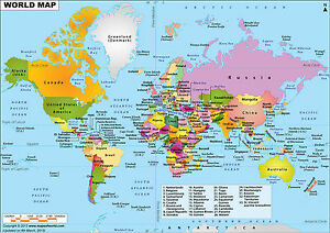 WORLD MAP WALL ART POSTER A A SIZES AVAILABLE EBay - A1 world map poster