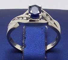 14K WHITE GOLD BEAUTIFUL BLUE SAPPHIRE RING WITH DIAMONDS