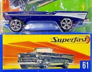 2004-Matchbox-Superfast-61-1957-Chevrolet-Bel-Air-Convertible-DARK-BLUE-NEW