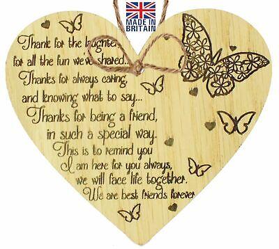 Best Friends Forever Friendship Love Oak Heart Gift Hanging Plaque Home Present