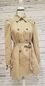 Image is loading Juicy-Couture-Double-Breasted-Gold-Crown-Button-Trench- 018a2c844