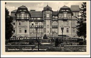 Schierke-Harz-DDR-Postkarte-1956-Partie-am-Ferienheim-Franz-Mehring-ungelaufen