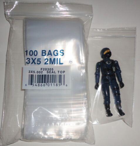 parfait pour 3 3//4 Star Wars ou Gi Joe Action Figures Sacs de stockage Lot de 100