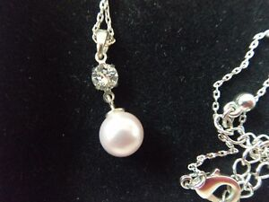 514646f66fabf Details about silver plated necklace Jon Richard pearl made with Swarovski  elements + earrings