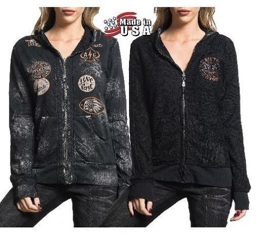 Black Affliction Womens Nwt Lace Small Xs Reversible Large Zip Hoodie Medium dUnxwrEqn