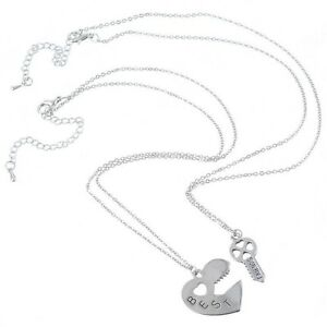 NEW-BFF-Silver-Heart-Lock-and-Key-Best-Friend-Set-Pendants-2-Necklace-Friendship