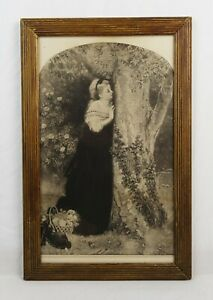 Antique-19th-Century-Victorian-Lithograph-Print-of-Romantic-Woman-Scene