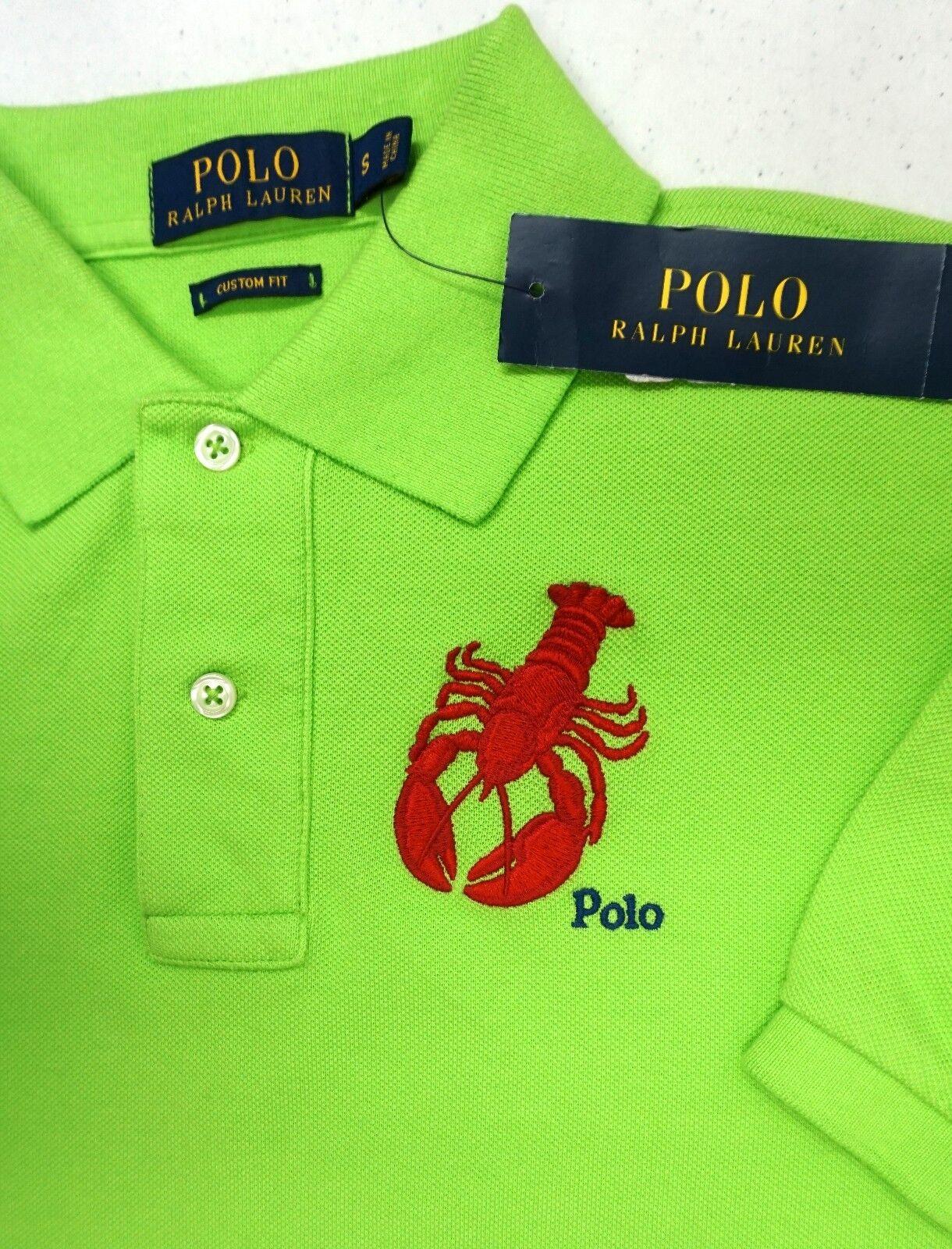 NWT  Polo Ralph Lauren Mesh Shirt Mens Size Small Green NEW Lobster Cotton