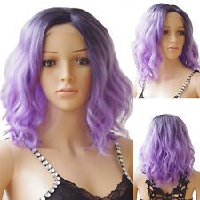 Synthetic Short Hair Lace Front Wig Black Mixed Long Body Wavy Heat Resistant #S