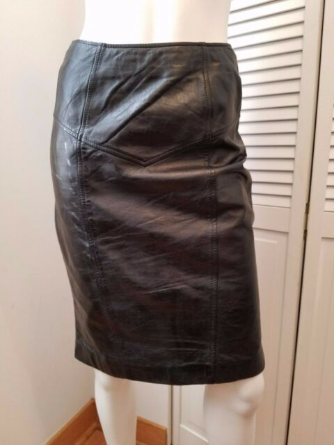 5565ba113 Vintage 1980s PELLE CUIR Black Genuine Leather Pencil skirt Size Small