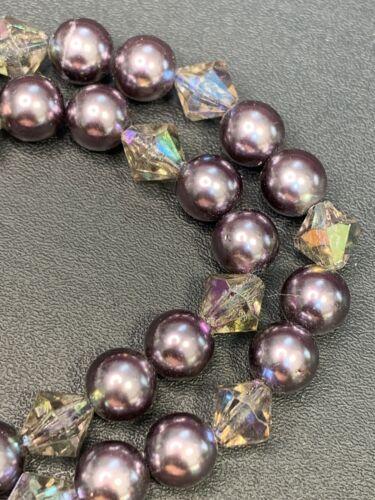 Vintage Silver Grey Lavender Faux Pearl AB ACCENTS