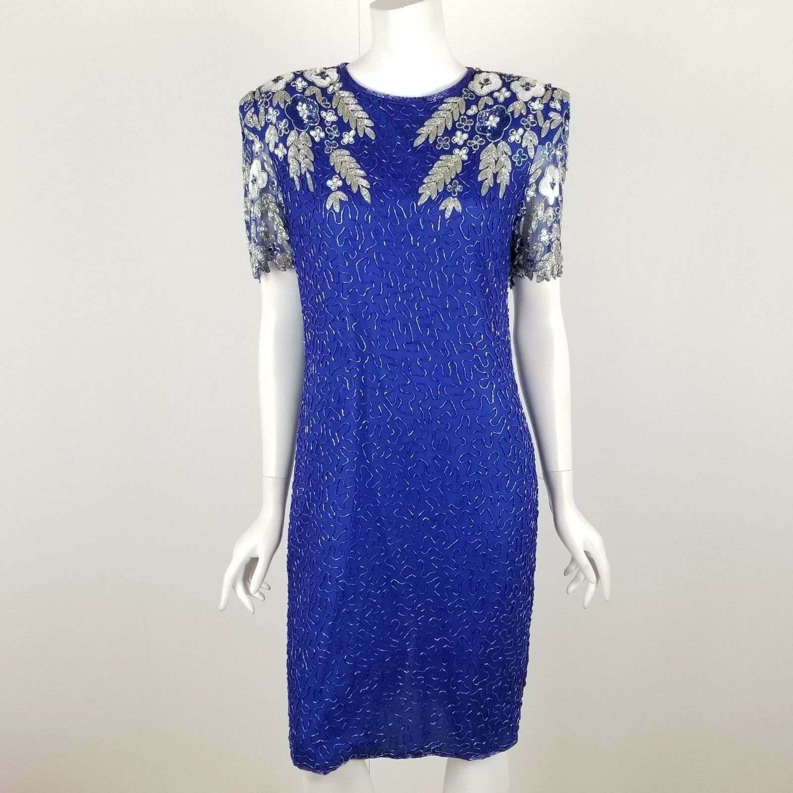 Laurence Kazar Cocktail Dress Größe Medium Blau Sequin Beaded Open Back