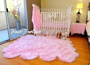 5x6 Baby Pink Sheepskin Pelt Nursery Area Rug Baby Girl Home Decor