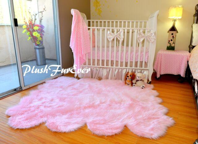 plushfurever 5 x 6 girl baby pink sheepskin nursery area rug faux