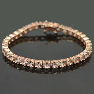 14K-Rose-Gold-Plating-Natural-Morganite-Gemstone-925-Sterling-Silver-Bracelet