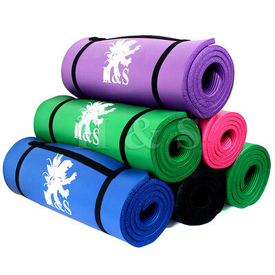 15mm & 10mm Thick Yoga Exercise Fitness Gym Mat Pilates Camping Non Slip Bag New