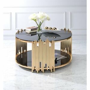 Image Is Loading Bowery Hill Round Glass Top Coffee Table In