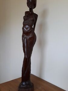 WOOD-CARVING-OF-NATIVE-WOMAN-IN-SENSUAL-POSE-50cm-TALL