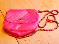 Pink Front Checked Chain Link Handbag