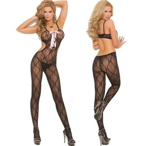 d1452fdd3 Image is loading Black-Bow-Lace-Bodystocking-Lingerie-Front-Regular-or-