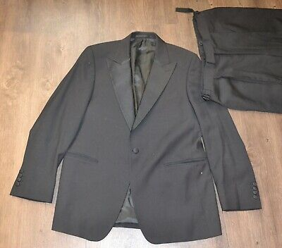 Men/'s Black Ralph Lauren Tuxedo with Pants Peak Lapels Wedding Prom Mason 40R