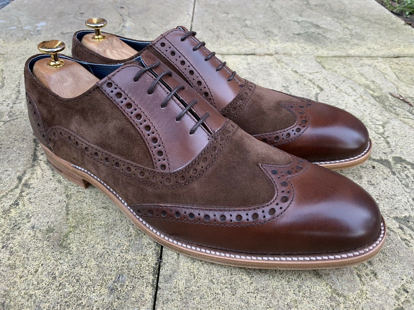 Barker Grant Wing Punta Brogue Zapatos Gamuza Becerro De Nogal UK 10 nos 11 Ganga