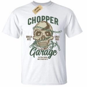 Chopper-Garage-T-Shirt-Mens-Skull-biker-motorcycle-rider-motorbike-white