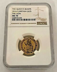 2016 QUEENS BEASTS LION OF ENGLAND 1/4 oz GOLD NGC MS70