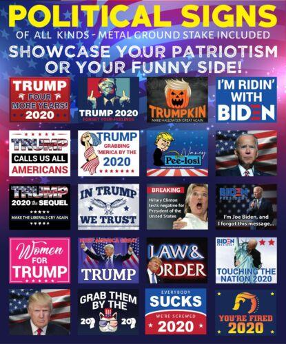 "24/"" x 18/"" OBAMA /& CLINTON Trump 2020 /""MORE JOBS/"" Political Yard Sign w//Stake"