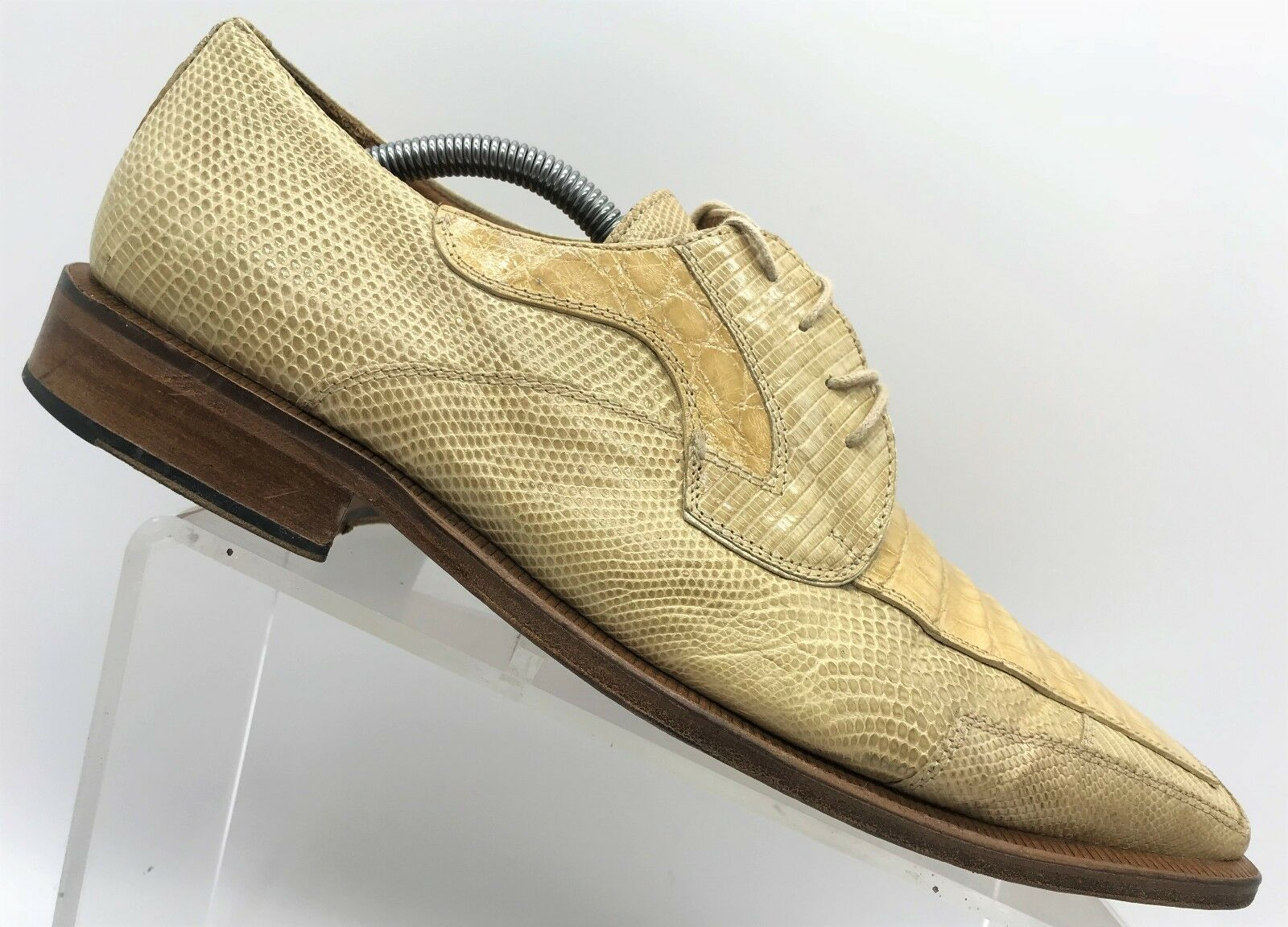 David Eden Beige Exotic Lizard Crocodile Reptile Skin Oxfords Men's shoes 10.5