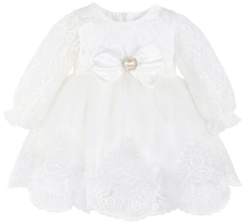 Baby Girl Christening Baptism Lace White Dress Gown 6 Piece Deluxe Set 0-3M