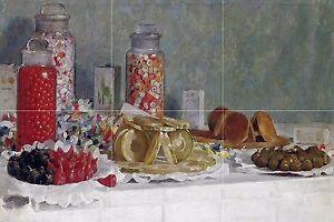 STILL LIFE FILLETS SWEET E. Longoni Tile Mural Kitchen Backsplash Marble Ceramic
