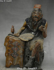 China Ancient  Wucai Porcelain Yuanbao Fortune telling Old Man People Statue