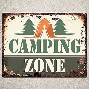 Pp0162 rust camping zone sign home shop cafe restaurant for Decor zone homes