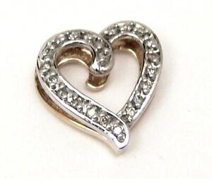 10K-Solid-GOLD-Genuine-Diamond-22-ct-Heart-Slide-Pendant-Reversible-Two-Tone