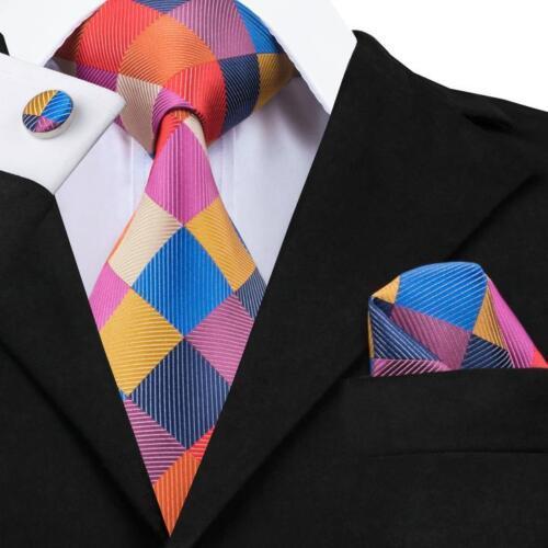 USA CLASSIC Men/'s Tie Blue Grey Red Gold Purple Paisley Checks Silk Necktie Set