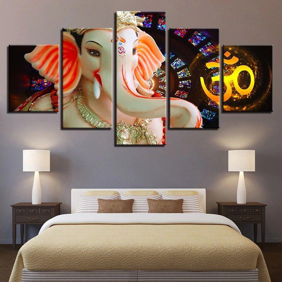 Hindu God Ganesh Elephant 5 Panel Canvas Print Wall Art