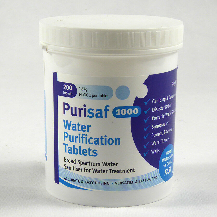 6 x 200 Professional Purisaf Water Purification Tablets (Chlorine Tablets)