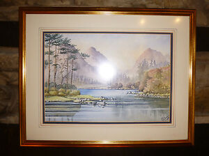 Scottish-Highlands-WATERCOLOUR-PAINTING-ART-Original-GLEN-ETEVE-by-ER-Gibson-039-69