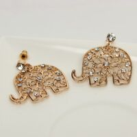 Elephant Ohrstecker Ohrringe in der Farbe gold mit Strass Earring