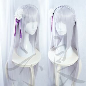 Re-Life-in-a-Different-World-from-Zero-Emilia-100cm-Long-Silver-Purple-Wig-E082