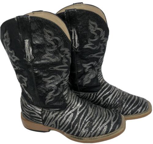 Roper Kids Black Zebra Print Cowboy Western Boots… - image 1