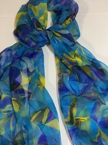 100-Mulberry-Silk-Chiffon-Scarf-24x72-034-Tropical-Blues-amp-Yellow-Aussie-Crafted