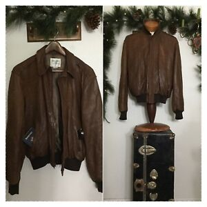 4c2f9f902 Details about PETER JAMES LEATHER CO. Brown Distressed Leather Vintage Moto  Pilot RARE Jacket