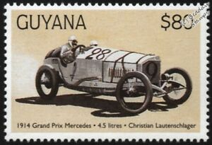 1914 Mercedes-benz (christian Lautenschlager) F1 Gp Racing Voiture Tampon/1998 Guyana-) F1 Gp Racing Car Stamp/1998 Guyana Fr-fr Afficher Le Titre D'origine
