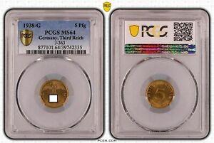 Drittes Reich 5 Pfennig 1938 g Stempelglanz PCGS MS64 51508