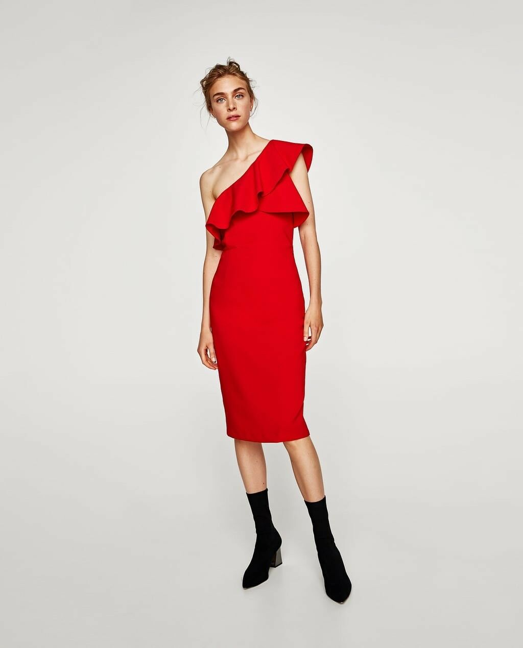 Zara Women Frilled Asymmetric Dress Red Size M NWT