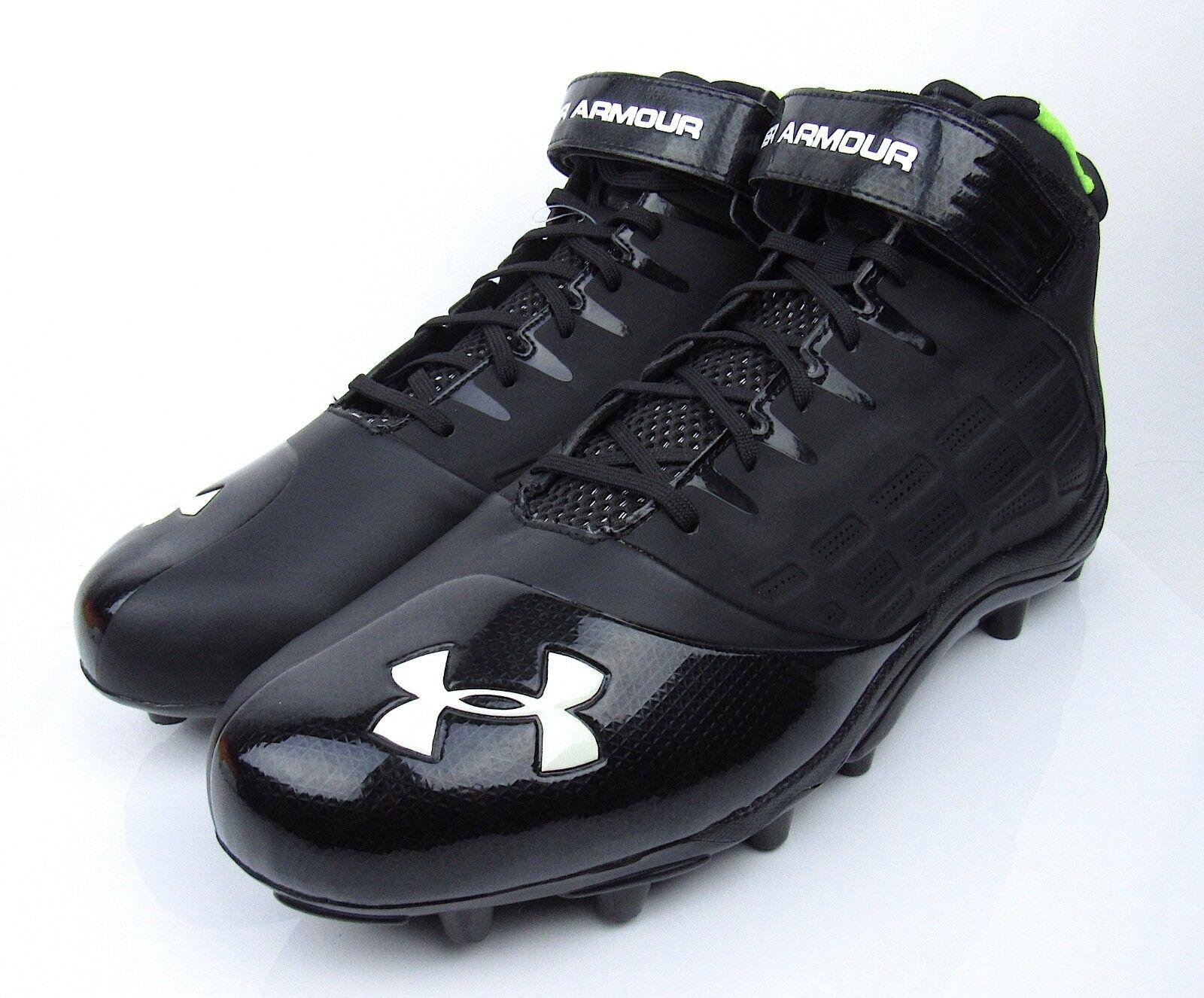 NEW hommes UNDER ARMOUR Man Made Upper noir & Green Football Cleats Chaussures