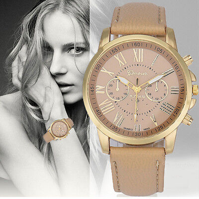 New Women Geneva Watch Roman Numerals Faux Leather Analog Quartz Wrist Watches